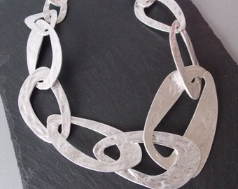 Chunky Silver Abstract Chain Statement Necklace
