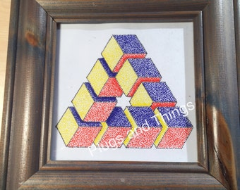 Penrose/impossible triangle made up of geometric cubes with star in centre in colour dot art *hand drawn, unique, made to order*