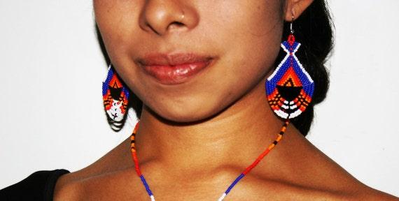 Aztec and Inca Inspired Earrings, Native Beaded Earrings, Native American Earrings, Traditional Beadwork, Tribal Fashion, Native Fashion