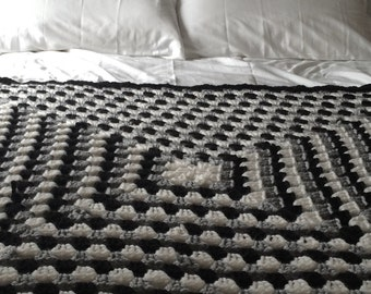 Monochrome Crochet Throw