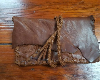 Distressed Brown Leather Wallet M