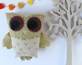 OOAK, Hand Embroidered Woodland Owl