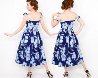 50s Alfred Shaheen Blue Floral Cotton Sundress | Navy & Blue Hibiscus Flower Hawaiian Dress |  Small