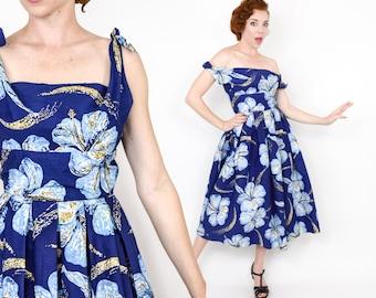 50s Alfred Shaheen Dress | Navy Blue Cotton Hibiscus Flower Hawaiian Sundress | Evening or Party Dress | Small