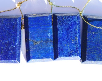 Lapis Lazuli Pendant, Natural Royal Blue Lapis Focal Bead, Rectangular, 46 x 26mm, C4573