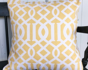 Pillow cover 20x20 Yellow and white Geometric Design Decorative Throw Pillow