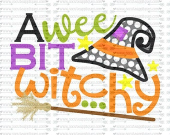 SVG, DXF, EPS cutting file, I wee bit witchy, Happy Halloween witch svg, witch hat svg, broom svg, socuteappliques, scrapbooking file