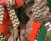 "Miami Hurricanes wreath Miami Hurricanes Florida State Seminoles wreath Burlap wreath Noles Bucs Nation  22"" football season special!!!"