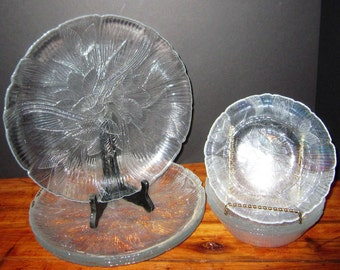Arcoroc Canterbury Pattern Crocus Dinner Plates and Bowls, Embossed Floral Plates, Clear Glass Dinner Plates
