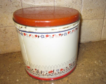 Vintage Tin Canister Featuring Courting Couple With Floral Trim Retro Storage, Shabby Chic