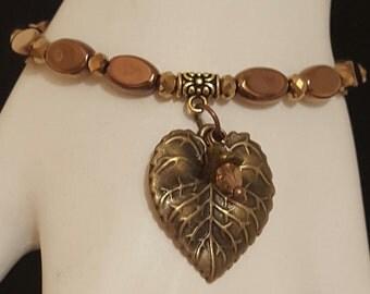 Bronze Leaf Bracelet, Delicate