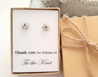 Tie the Knot  message Earrings Bridesmaid Gift box, Knot Earrings Gift Box
