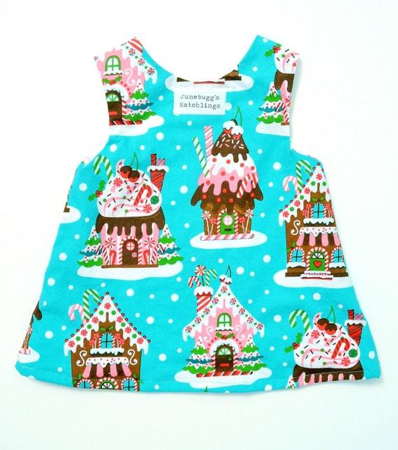 Gingerbread house christmas holiday dress