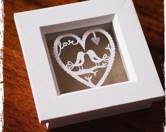 Love Birds - Miniature Paper Cut
