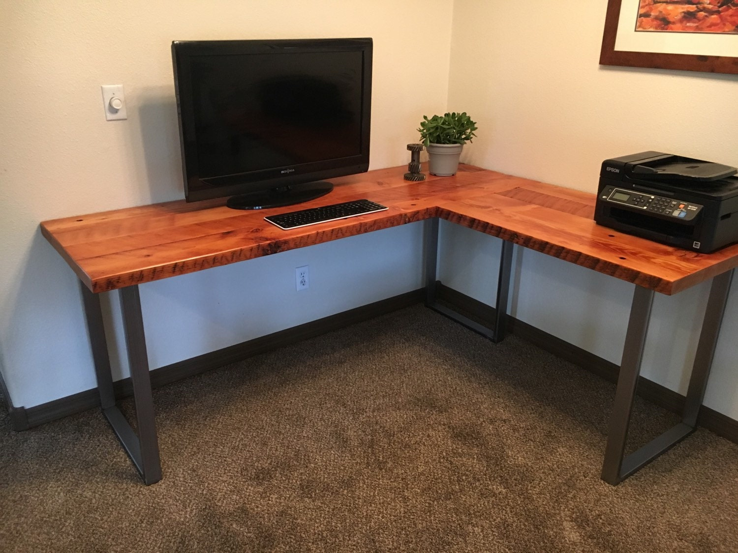 L-shaped Desk. Reclaimed wood desk. Wood and steel desk.