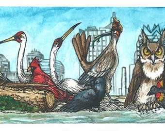 Crane City Limits Watercolor and Ink Poster - Based on Austin Skyline