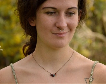Chevron Necklace,Macrame Necklace,Dainty Necklace,Chevron Jewelry,Macrame Jewelry,Gift for Her,Yoga Gift,Minimalist Necklace,Mikrame,Healing