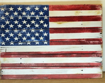 American Flag Sign - Distressed Flag Sign - Patriotic Decoration - Wooden Flag Sign - Rustic American Flag - Old Glory Sign - sizes vary
