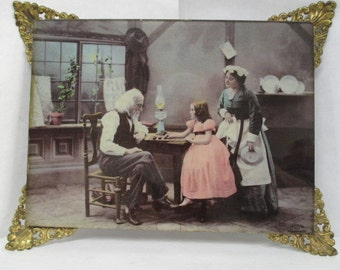 Vtg Glass Picture, Family At A Table, Ulman MFG 1898, 1800s Home Decor