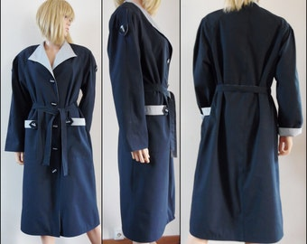 Vtg 70s navy blue grey rain coat womans French retro navy blue rain coat size medium
