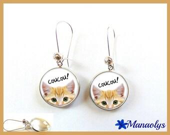 Dangle earrings cats, cabochons glass