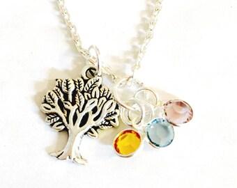 Family Tree Necklace, Grandma Necklace, Swarovski Crystal Necklace,  Birthstone Grandma Necklace, Mommy Necklace, Mom Necklace, Tree of Life