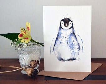 Penguin Watercolour Illustration Greeting Card- 300gsm White Card 177 x 127mm Blank Inside with Brown Recycled Envelope