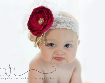 Handmade flower, Christmas headband, red flower, satin singed flower, couture, holidays, rustic headband, lace and burlap, rustic wedding