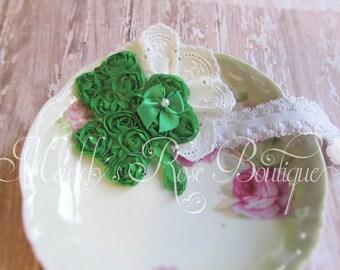 St. Pattty's Day headband, Shamrock headband, Shabby Chic, Saint Patrick's Day headband, Photo Prop, Baby headband,