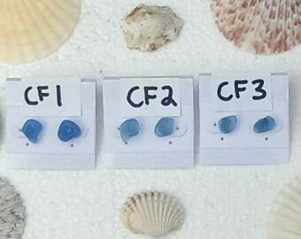 Genuine cornflower blue sea glass stud earrings