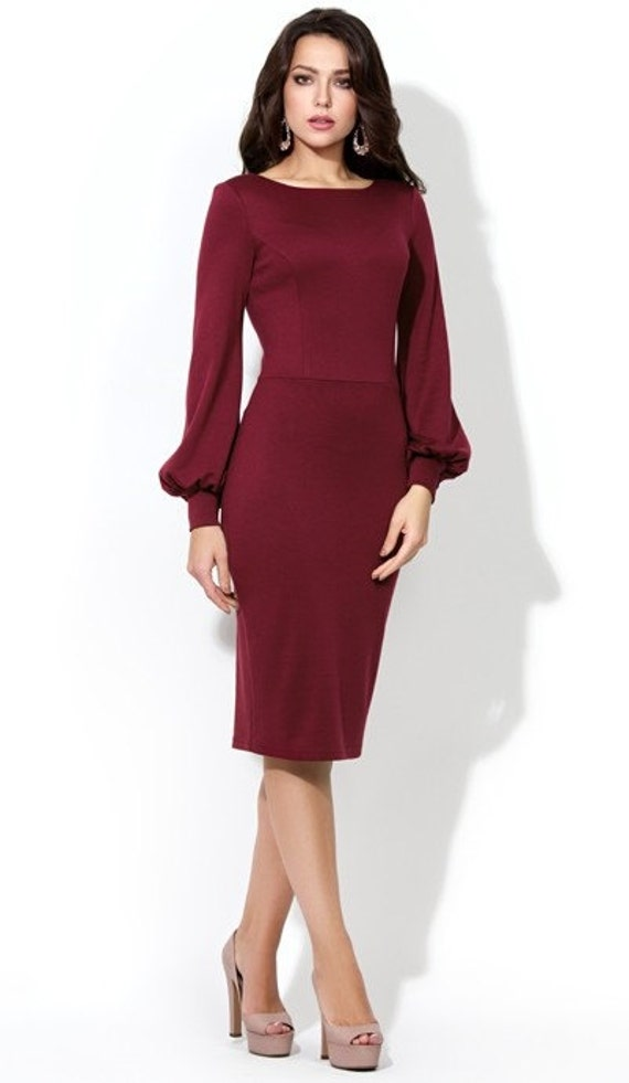 Burgundy Elegant Dress Formal Dress Wedding Knee Length Dress