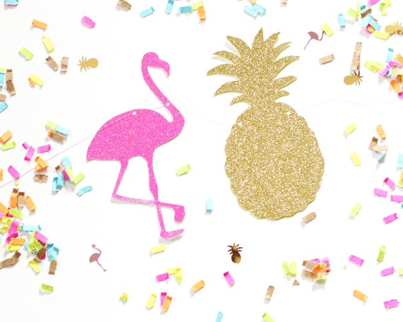 pineapple and flamingo background. flamingo \u0026 pineapple glitter banner gold hot pink garland - luau party decor any color and background
