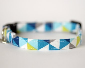 Geometric Blue, Green and Grey Cat Collar