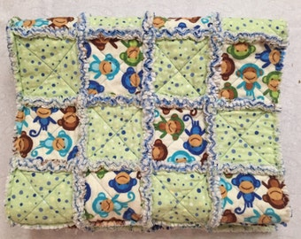 Little Monkeys Baby Quilt, Baby Rag Quilt, Flannel Rag Quilt, Quiltsy Handmade