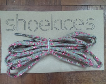 Handmade Shoelaces - Brown with pink flowers. Limited edition