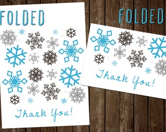Winter Snowflake Thank You Card - Printable, Instant Download - JPEG and PDF Thank you Card