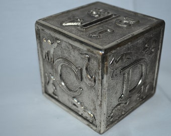 Vintage ABC Block Silver Bank
