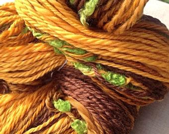 Handspun art yarn - hand spun natural yarn  - Toffee Apple - Art yarn -  hand spun yarn in the UK
