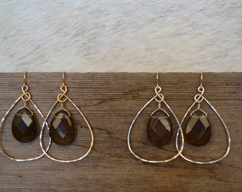 Smokey Quartz and Silver or Gold Hammered Hoop Earrings
