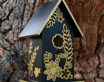 Hand Painted Fairy Birdhouse - Black & Gold Flora