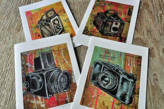 4 blank vintage camera paintings greeting card pack