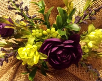 1 Purple and Lime Greeen Bridesmaid's hair Accsesory