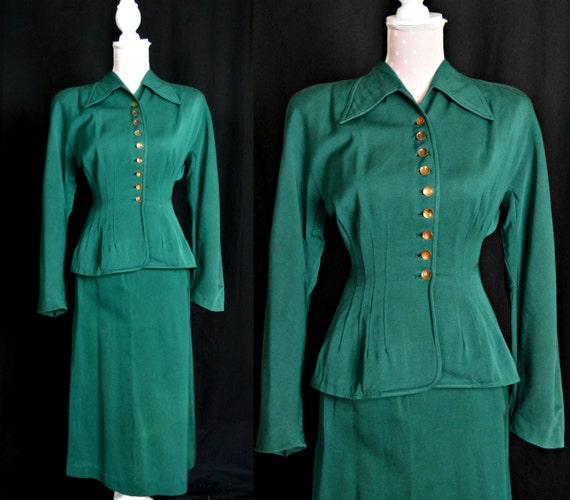 Vintage 1940's Emerald Green Kline's Suit