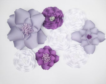 8 Backdrop White Paper Flowers, Big Paper Flowers, Purple Flowers, Floral Wall Decor, Wall Paper Flower, Bridal Shower, Table Centerpiece