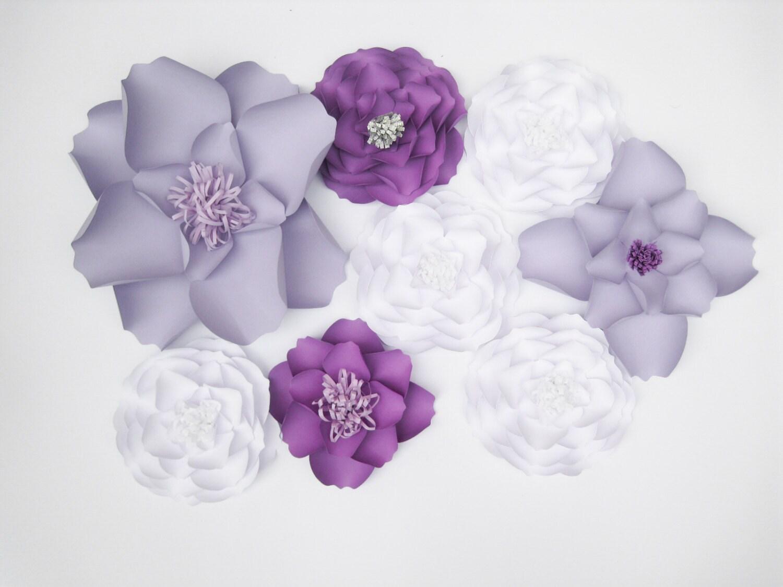 8 Backdrop White Paper Flowers Big Paper Flowers Purple