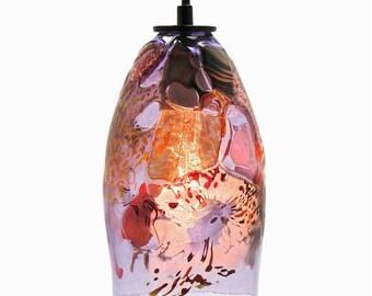 Glass Pendant Light - Riforma Shard Upcycled Glass - Violet