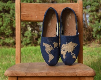 World Map Custom Hand-painted Classic TOMS shoes (without side design)