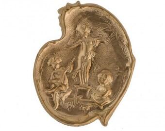 Vintage musical cherubs brass stamping. Pkg of 1. b9-0658(e)