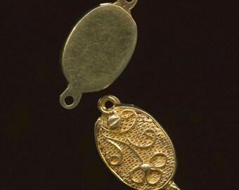 Sterling silver vermeil (goldwash) filigree clasp 12x9mm. Pkg of 1.  b8-0203(e)