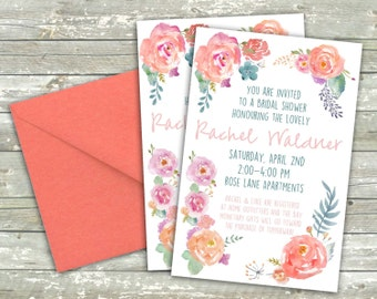 Watercolor Flowers Shower Invitation